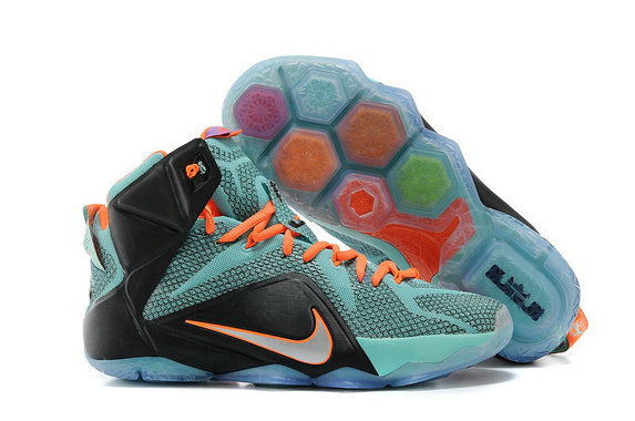 Cheap Wholesale Nike LeBron 12 Teal Orange-Black Cheap Wholesale For Sale Online