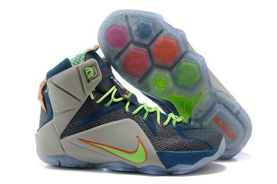 Cheap Wholesale Nike LeBron 12 Trillion Dollar Man Reflective Blue TT-Electric Green-Metallic Silver
