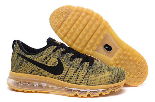 Cheap Wholesale Nike Flyknit Air Max Mens Gold Black