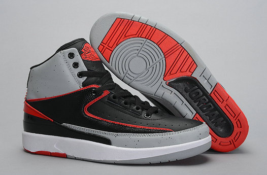 Cheap Wholesale Air Jordan 2 Black Red Grey For Mens