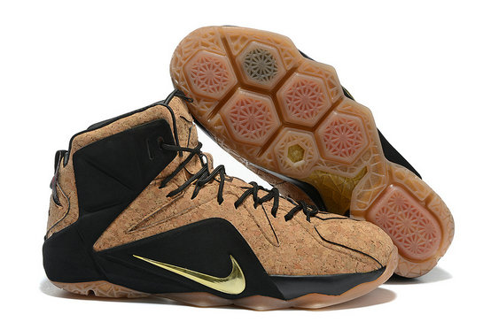 Cheap Wholesale Nike LeBron 12 EXT Cork Black Gold