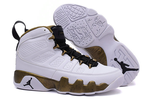 Cheap Wholesale Women Air Jordan 9 Retro Gold White Black