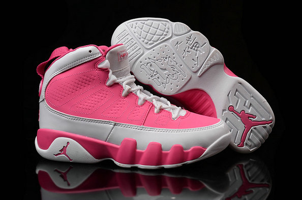 Cheap Wholesale Women Air Jordan 9 Retro Pink Grey