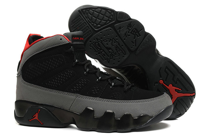 Cheap Wholesale Women Air Jordan 9 Retro Red Grey Black