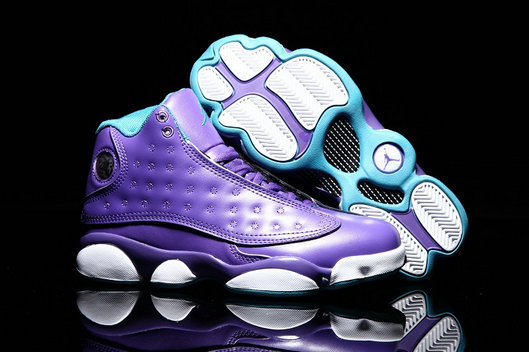 Cheap Wholesale Air Jordan 13 Womens Violet Purple White Green