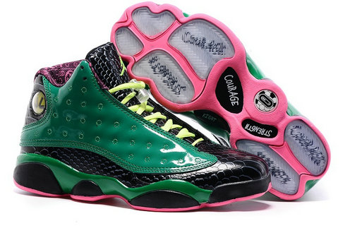 Womens Cheap Wholesale Air Jordan 13 Green Pink Black