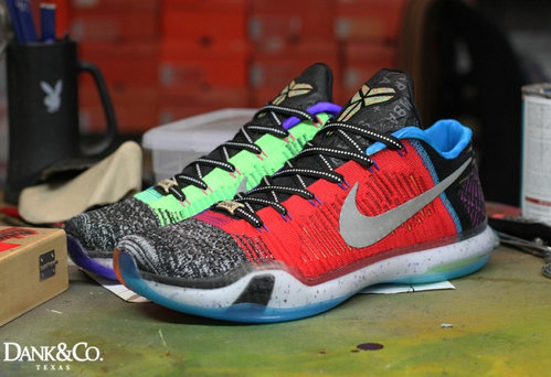 Cheap Wholesale NikeKobe 10 What The Red Grey Grass Green Blue Black