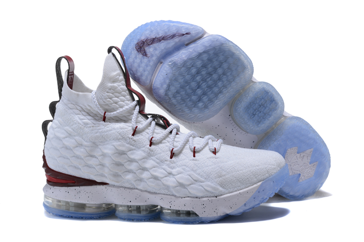 2017 Cheap Wholesale Nike LeBron 15 White Burgundy Shoes For Sale