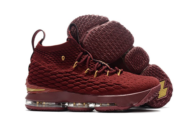 2017 Cheap Wholesale Nike LeBron 15 Wine Wine Red Gold For Sale