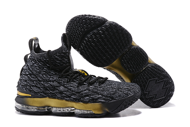 2017 Nike LeBron 15 Black Grey Metallic Gold For Sale