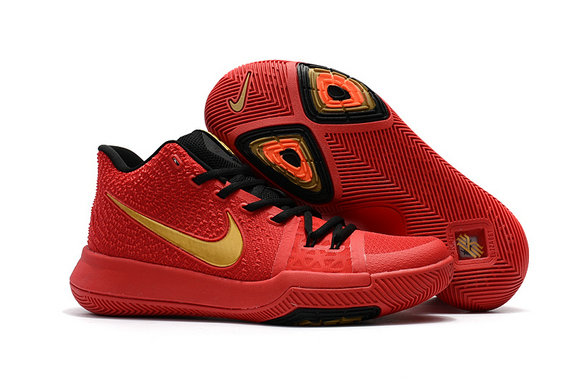 Cheap Wholesale Nike Kyrie Irving 3 Kids Red Gold Black