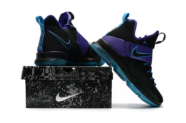 Cheap Wholesale Lebron 14 For Kids Black Purple Blue