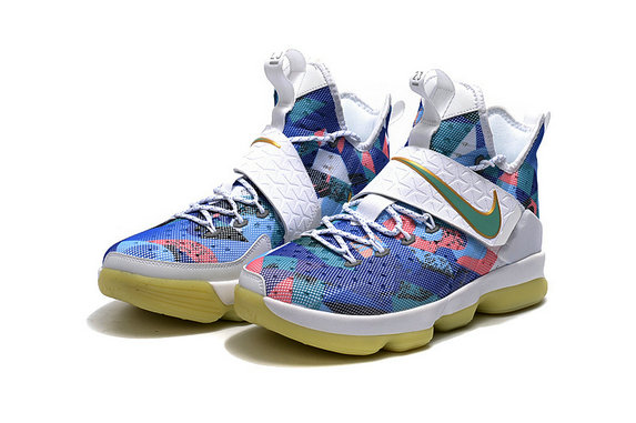 Cheap Wholesale Lebron 14 For Womens Blue White Pink