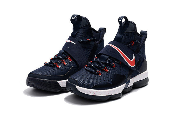 Cheap Wholesale Lebron 14 For Womens Deep Blue White Red