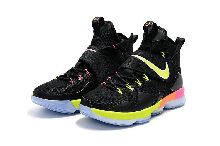 Cheap Wholesale Lebron 14 For Womens Green Pink Black