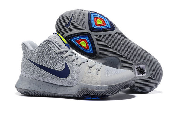 Cheap Wholesale NikeKyrieIrving 3 Grey Navy Blue