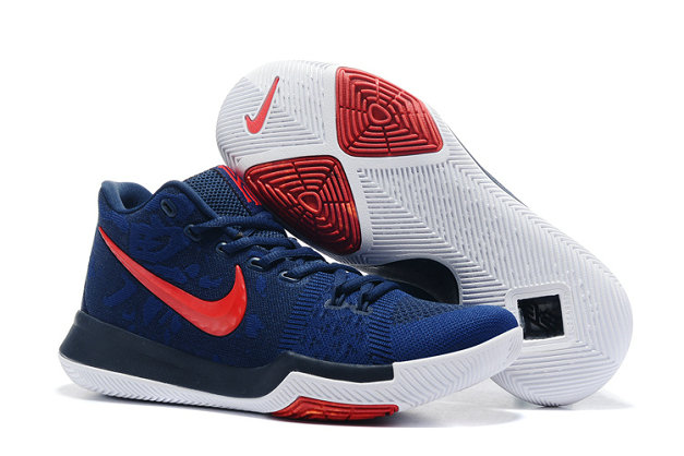 Cheap Wholesale NikeKyrieIrving 3 Navy Blue Red White