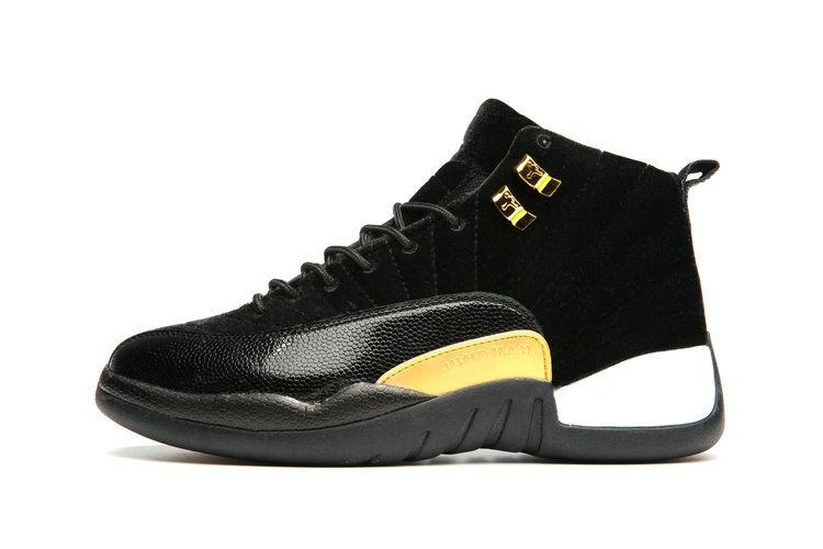Cheap Wholesale Nike AirJordanRetro 12 Womens Black Gold White