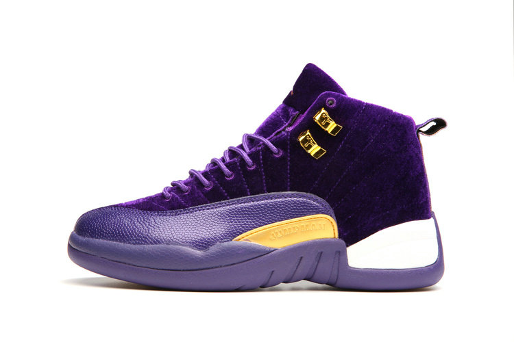 Cheap Wholesale Nike AirJordanRetro 12 Womens Purple Gold White