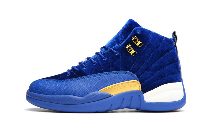 Cheap Wholesale Nike AirJordanRetro 12 Womens Blue Gold White