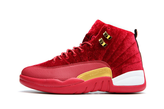 Cheap Wholesale Nike AirJordanRetro 12 Womens Red Gold White