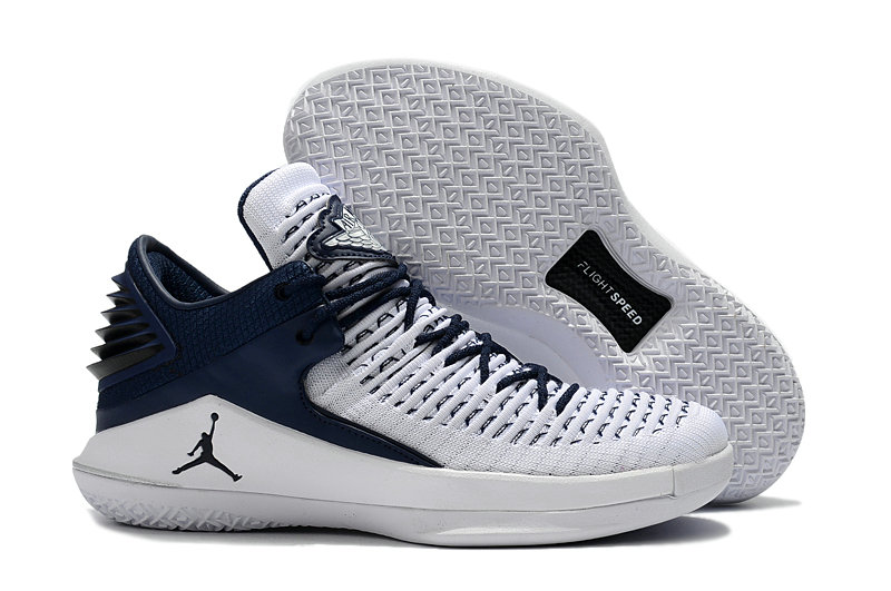 2018 Cheap Air Jordan Retro 32 White Navy Blue
