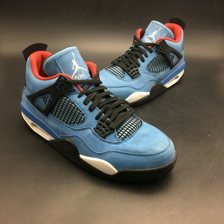 2018 Cheap Air Jordans Retro 4 Travis Scott Blue Black White Red