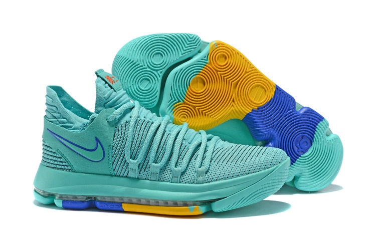2018 Cheap Wholesale Nike Kevin Durant 10 X Jade Blue Yellow