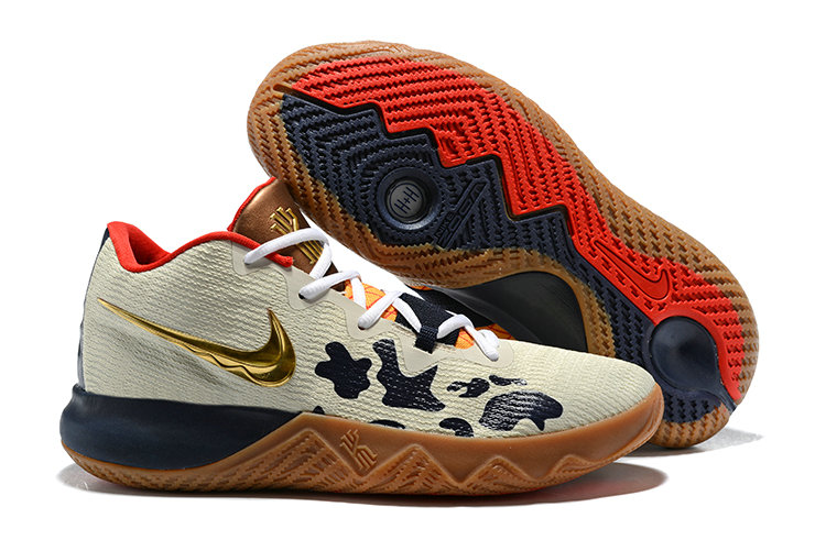 2018 Cheap Wholesale Nike Kyrie Irving Flytrap Gold Cream Red Navy Blue