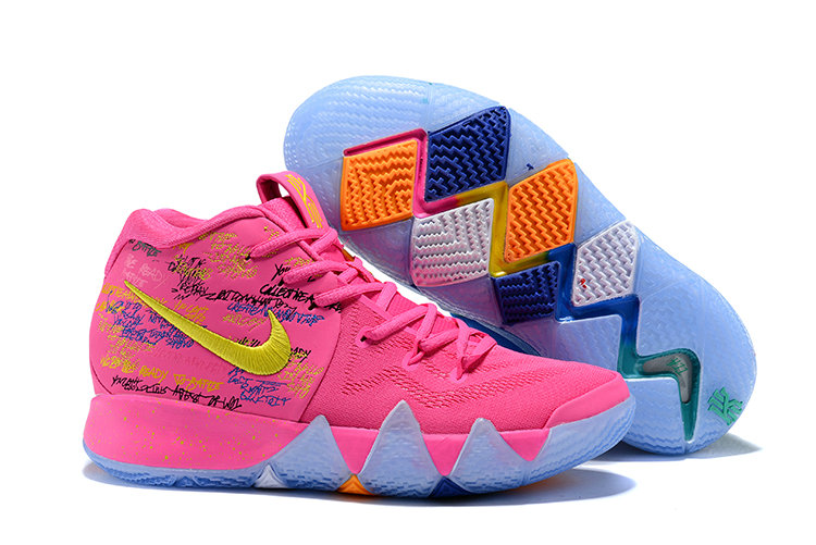 Cheap Wholesale Nike Kyrie Shoes x Cheap Wholesale Kids Kyrie 4 What The Pink Teal Christmas