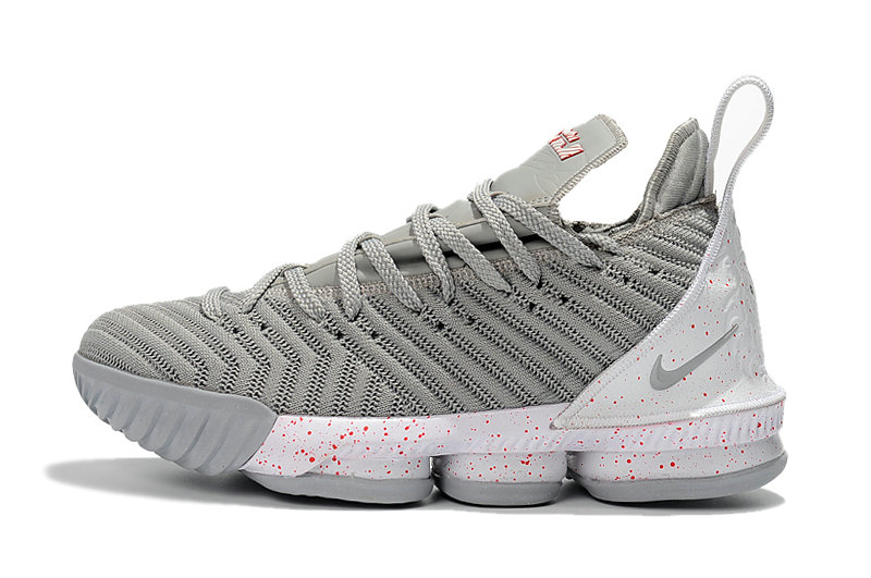 sports shoes 4316e 4728c Cheap Wholesale 2018 Latest Nike LeBron 16 Wolf Grey White-Red Mens Size  For Sale