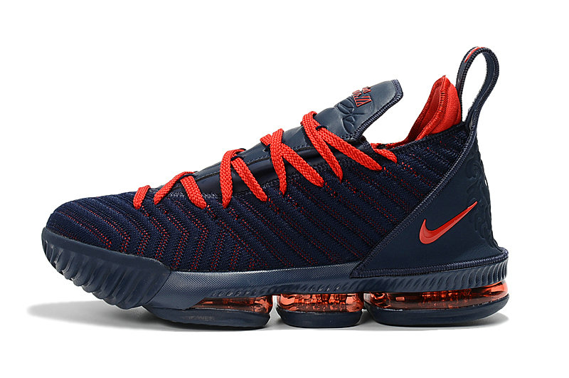Cheap Wholesale 2018 New Release Nike LeBron 16 Navy Blue University Red Basketball Shoes