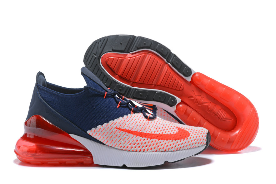 e5444a20a9791 2018 Nike Air Max 270 Flyknit Mens Orange White Blue Cheap Wholesale Online