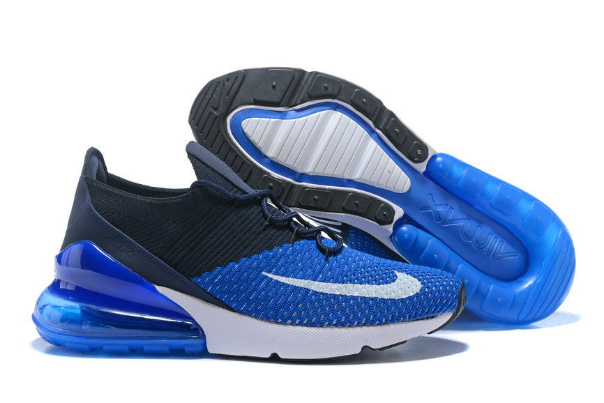 new product 0eea5 1c804 2018 Nike Air Max 270 Flyknit Mens Royal Blue White Black Cheap Wholesale  Online