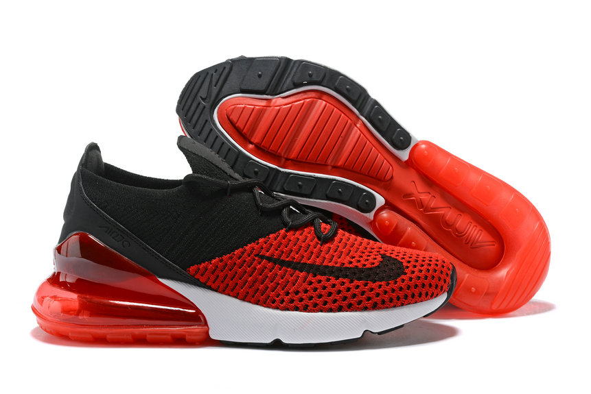 pretty nice 7a263 aac10 2018 Nike Air Max 270 Flyknit Mens University Red Black White Cheap  Wholesale Online