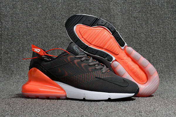 2018 Nike Air Max 270 Rubber Patch Black White Orange Cheap