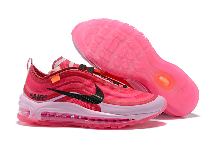 57b7ee96e5 2018 Nike Air Max 97 SneakerBoots OFF-WHITE Pink Red White Black Cheap  Wholesale Sale