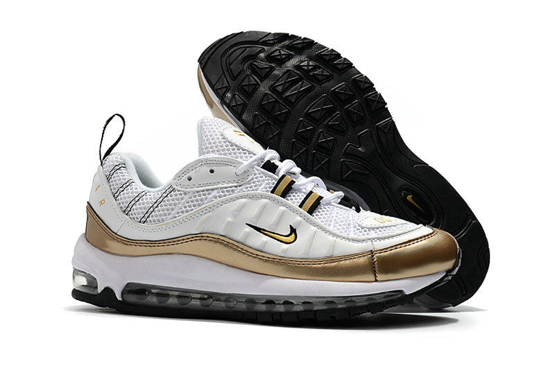 2018 Nike Air Max 98 Colorways Gold White Cheap Wholesale Sale