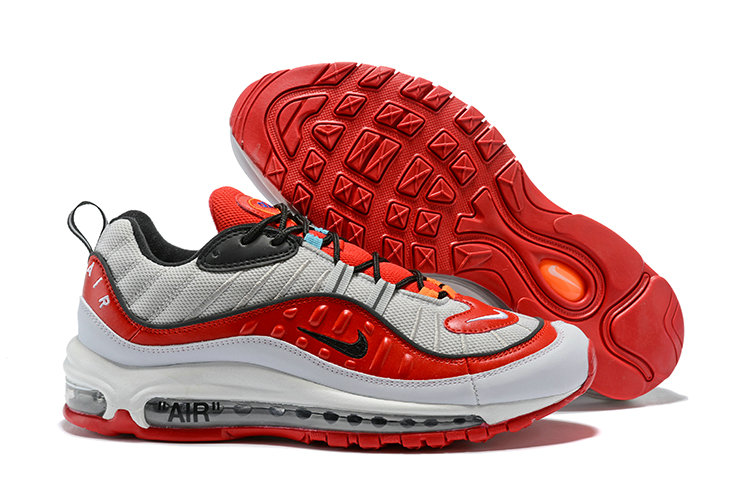 2018 Nike Air Max 98 Colorways Grey Fire Red Black Cheap Wholesale Sale
