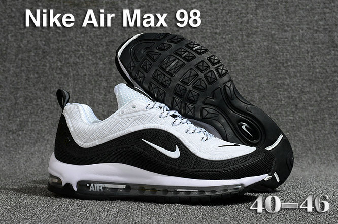 cheaper 55102 55863 2018 Nike Air Max 98 QS Black White Cheap Wholesale Sale