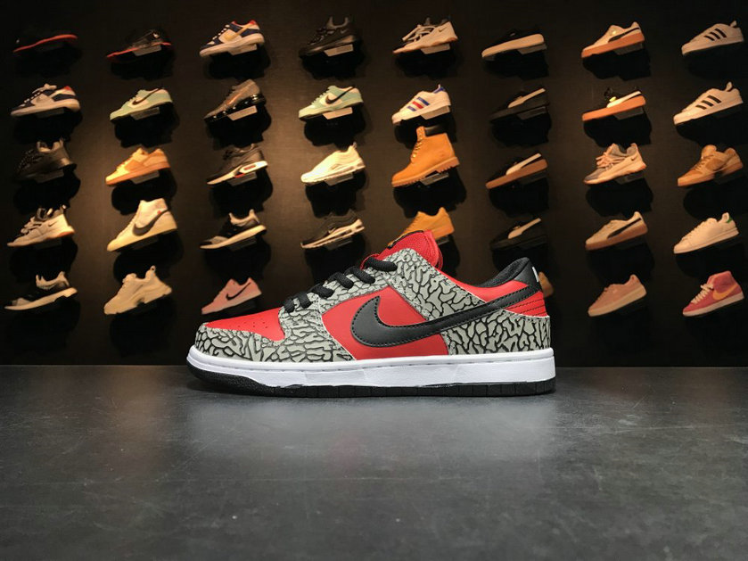 Cheap Wholesale Nike SB Dunk x Cheap Wholesale Nike Dunk Low Premium SB Supreme Grey Red Black Gris Rouge Noir
