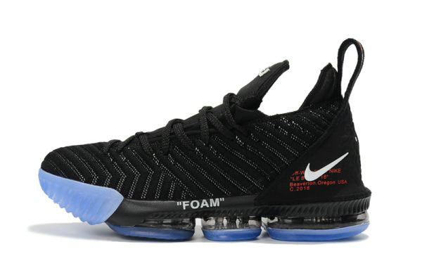 Cheap Wholesale 2018 Off-White x Nike LeBron 16 Black Basketball Shoes For Sale