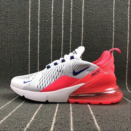 0ff9d8e588 2018 WOMENS NIKE AIR MAX 270 WHITE DARK BLUE SUN RED BLACK METAL SILVER  AH6789-101