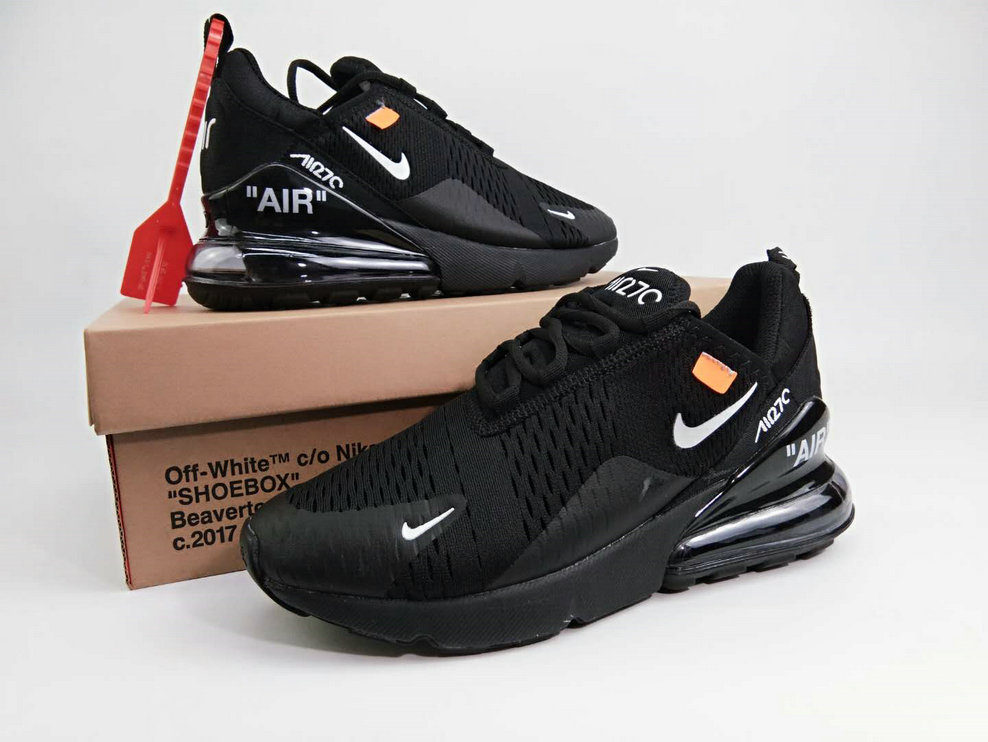 6be4b03f837148 2018 Womens 2018 Nike Air Max 270 Triple Black OFF-WHITE Cheap Wholesale  Sale