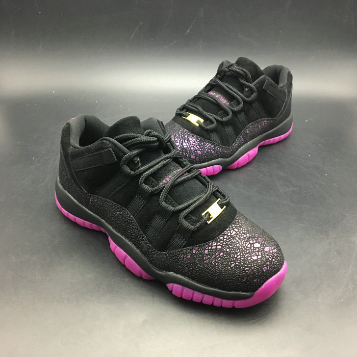 2018 Womens Air Jordans Retro 11 Low Think 1 Black Purple