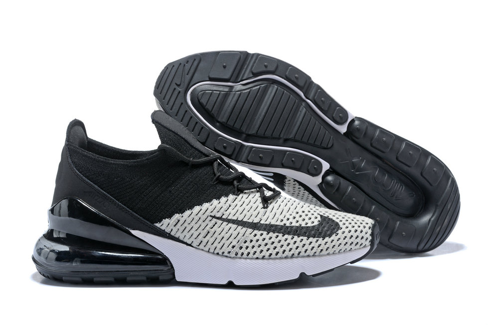 promo code c795f 091fa 2018 Womens Nike Air Max 270 Flyknit Grey White Black Cheap Wholesale Sale