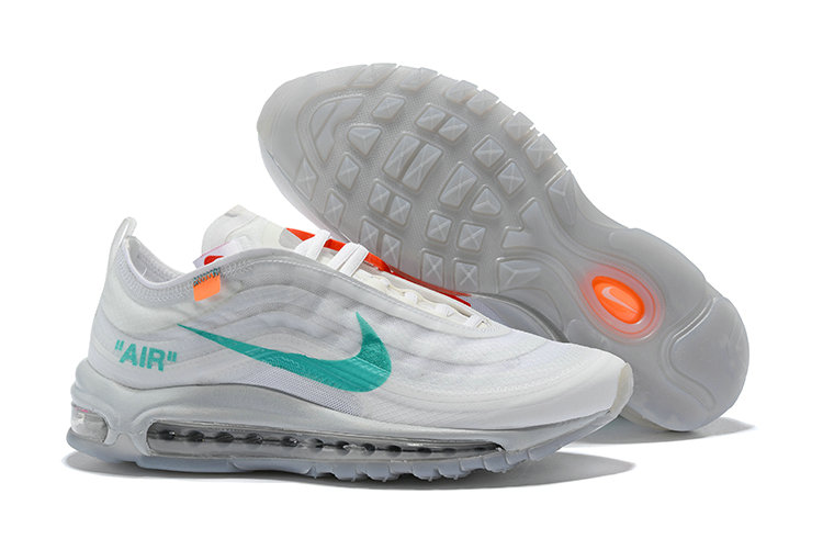 5c7154ed64 2018 Womens Nike OFF-WHITE Air Max 97 SneakerBoots Green White Cheap  Wholesale Sale