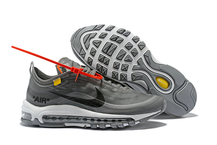 463ae181e2cfd3 2018 Womens Nike OFF-WHITE Air Max 97 SneakerBoots Wolf Grey Black Cheap  Wholesale Sale