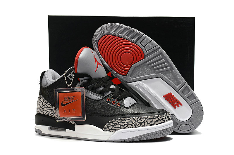 Cheapest Wholesale Sale Nike Air Jordans 3 (III) Retro Black Grey Red For Mens