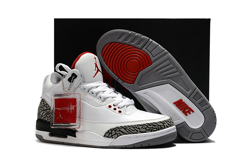 sale retailer 1bc08 a0a01 Cheapest Wholesale Sale Nike Air Jordans 3 (III) Retro JTH NRG White Grey  Red For Mens